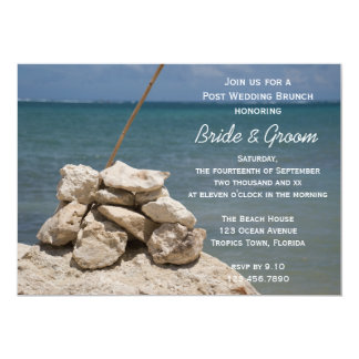 Rocks on Beach Post Wedding Brunch Invitation