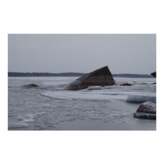 Rocks Sticking Out Of The Ice Poster