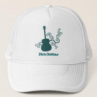 Rockstar Guitar Hat, Dark Teal Trucker Hat
