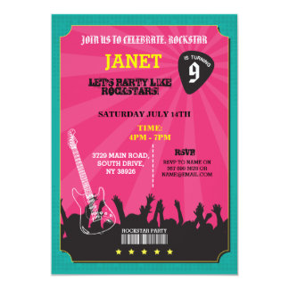 Rockstar Rock Music Gig Guitar Pick Party Invite