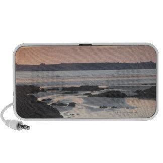 Rocky beach at sunset laptop speaker