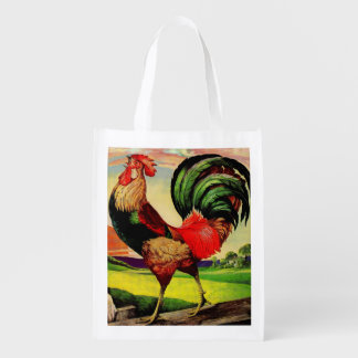 Rocky the Handsome Rooster Reusable Grocery Bag