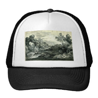 Rocky wooded landscape by Thomas Gainsborough Trucker Hat