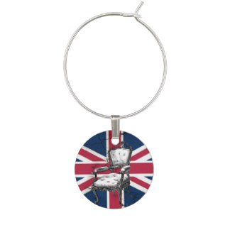 Rococo chair united kingdom union jack flag wine charm