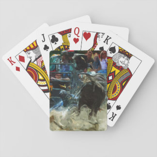 Rodeo Bull Ride Ending Abstract Impressionism Playing Cards