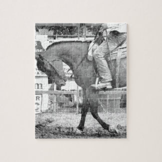 Rodeo Horse Warm-up Black and White Jigsaw Puzzle