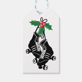 Roller Derby Girl, Christmas Skating with Holly Gift Tags