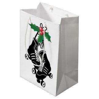 Roller Derby Girl, Christmas Skating with Holly Medium Gift Bag