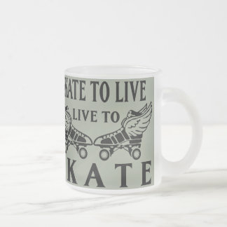 Roller Derby, Skate to Live, Live to Skate Frosted Glass Coffee Mug
