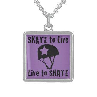 Roller Derby, Skate to Live Live to Skate, Jammer Square Pendant Necklace