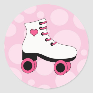 Roller Skating Bubble Gum Pink Stickers