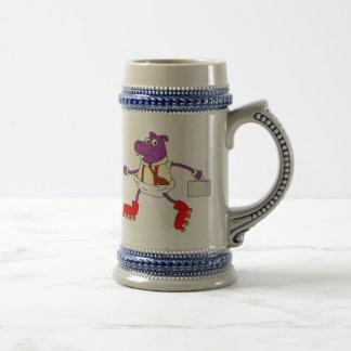 Rollerskatinghippo stein mugs