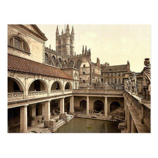 Roman Baths and Abbey, IV, Bath, England classic P Post Card