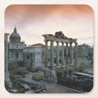 Roman Forum at dawn Square Paper Coaster