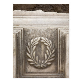 roman forum, laurel design on marble stone block postcard