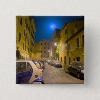 Roman neighborhood street at night 15 cm square badge