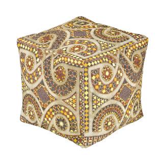 Romanesque Gold Mosaic Pattern Pouf
