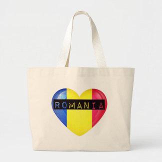 Romania Flag Heart Large Tote Bag