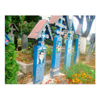 Romania Marumures Merry Cemetery wood carving Postcards