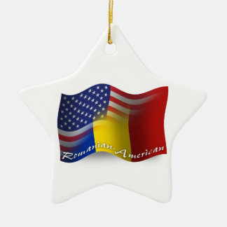 Romanian-American Waving Flag Christmas Ornament