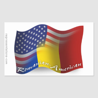 Romanian-American Waving Flag Rectangular Sticker