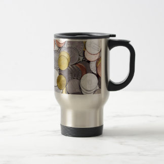 Romanian currency coins travel mug