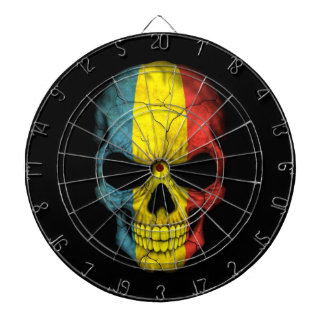 Romanian Flag Skull on Black Dartboard