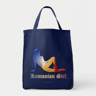 Romanian Girl Silhouette Flag Tote Bag