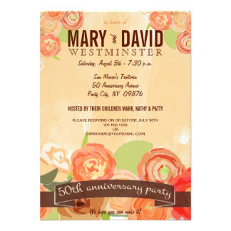 Romantic Abstract Rose 50th Anniversary Party Announcement