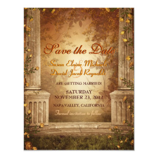 Romantic Autumn Leaves and Columns Save the Date Card