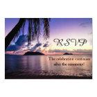 Romantic Beach Purple Sunset Wedding RSVP Card