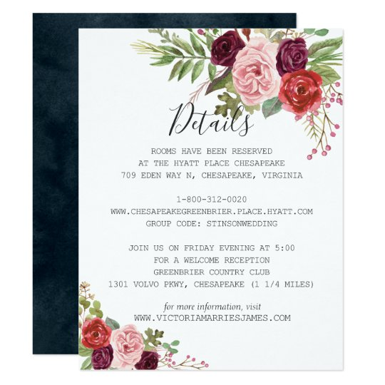 Romantic Blooms Guest Information Card