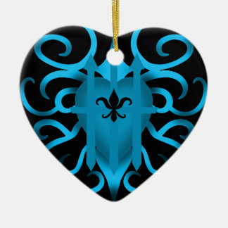 Romantic Blue heart and swirls Christmas Ornament