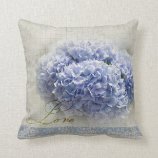 Romantic Blue Hydrangeas Cushion