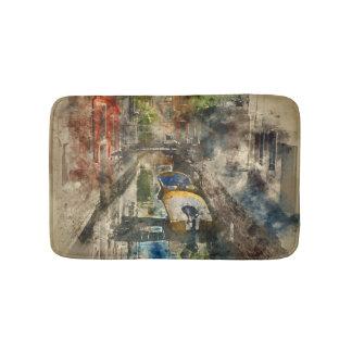 Romantic Canals of Venice Italy Watercolor Bath Mat