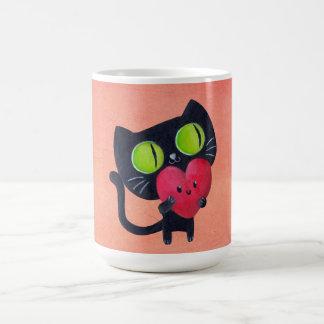 Romantic Cat hugging Red Cute Heart Basic White Mug