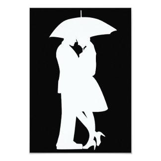 Romantic Couple Under Umbrella Invitations