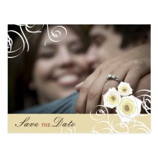 Romantic Cream Roses & Swirls Photo Save The Date Postcard