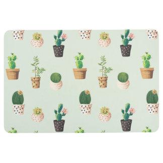 Romantic Cute succulent cactus on mint background Floor Mat