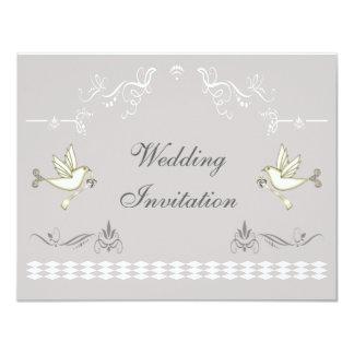Romantic Doves Wedding 11 Cm X 14 Cm Invitation Card