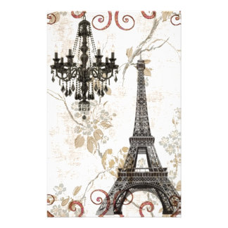 Romantic Fall Autumn Leaves Paris Eiffel Tower Stationery