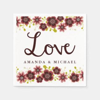 Romantic Floral Bouquet Personalized Wedding Disposable Napkin