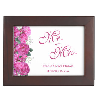 Romantic Floral Bouquet Wedding Keepsake Box