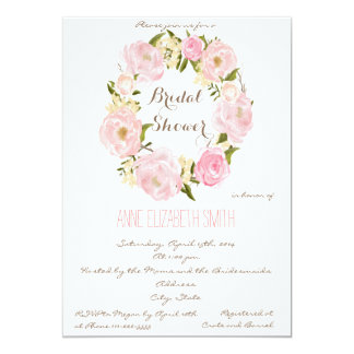 Romantic floral wreath Bridal Shower Invitation