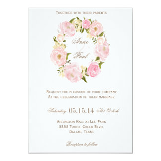 Romantic Floral wreath wedding invitation