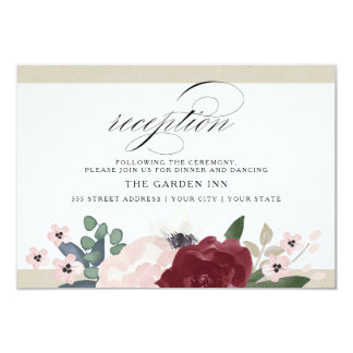 Romantic Florals Reception Card