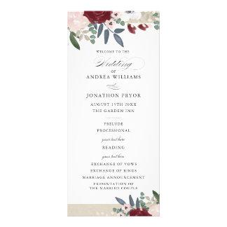 Romantic Florals Wedding Program Rack Card