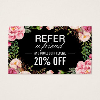 Romantic Girly Floral Wrapping Referral Card