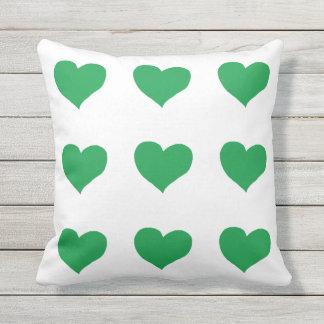 romantic green hearts white outdoor cushion