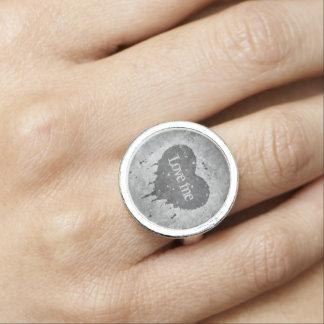Romantic grey heart ring